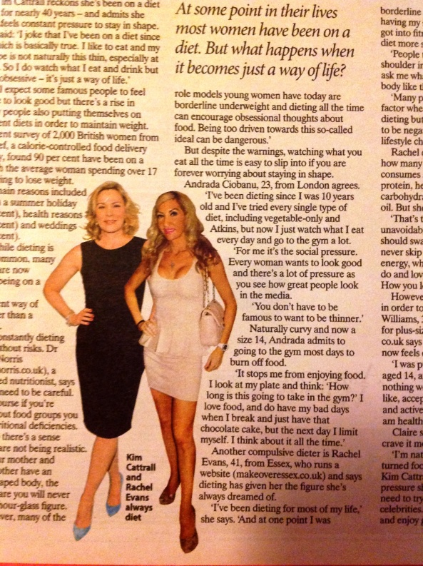 Fitness Celebrity Rachel Evans next to Kim Cattrall The Sunday People diet interview